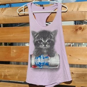 Purple Pabst and cat tank top!